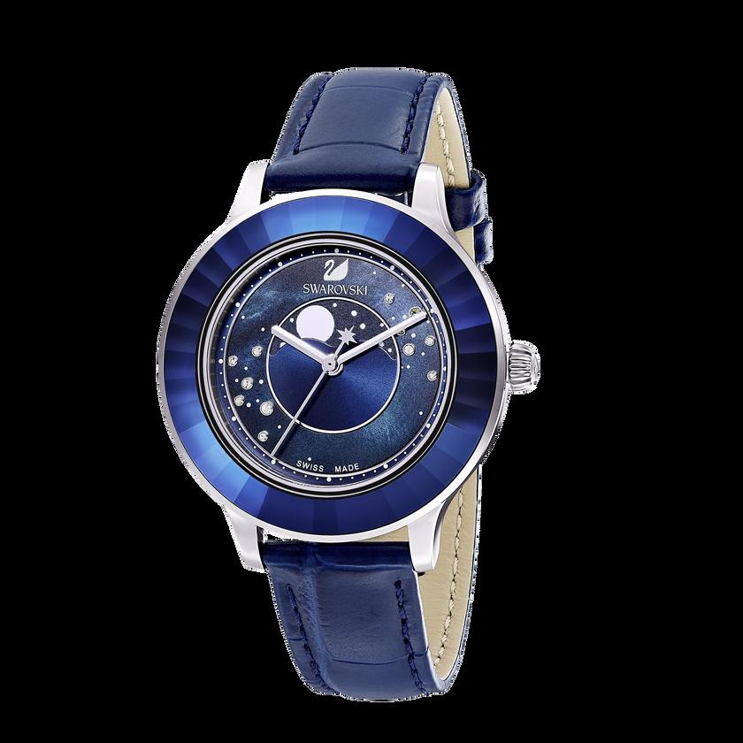 Octea Lux Moon Watch, Leather Strap, Dark blue, Stainless steel