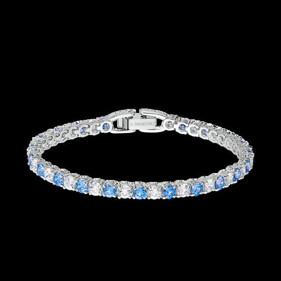 Tennis Deluxe Bracelet, Blue, Rhodium plating