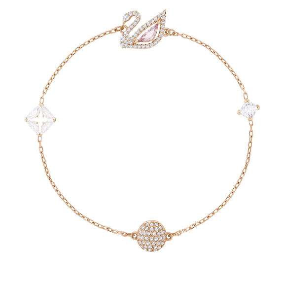 Dazzling Swan Bracelet, Multi-colored, Rose gold plating