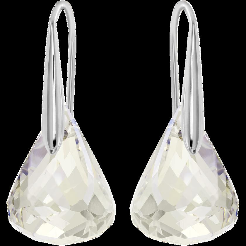 Lunar Pierced Earrings, White, Rhodium plated