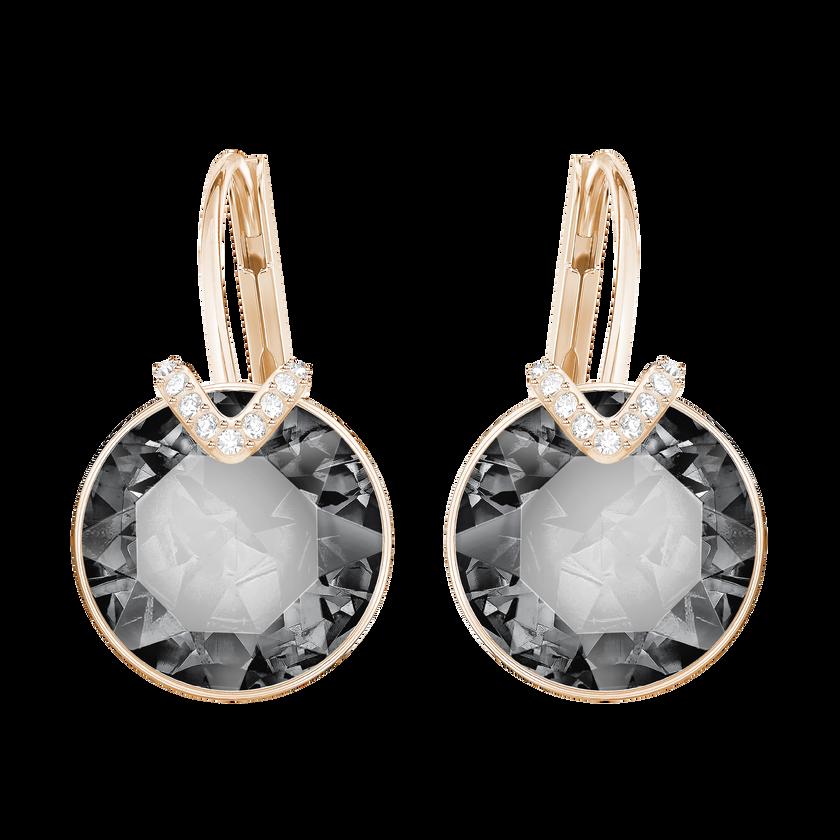 Bella V Pierced Earrings, Gray, Rose-gold tone plated