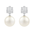 Perpetual Pierced Earrings, White, Rhodium Plating