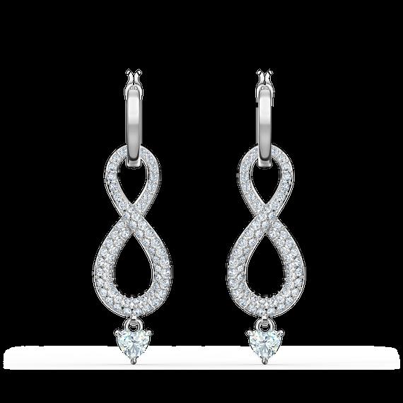 Swarovski Infinity Pierced Earrings, White, Rhodium plated
