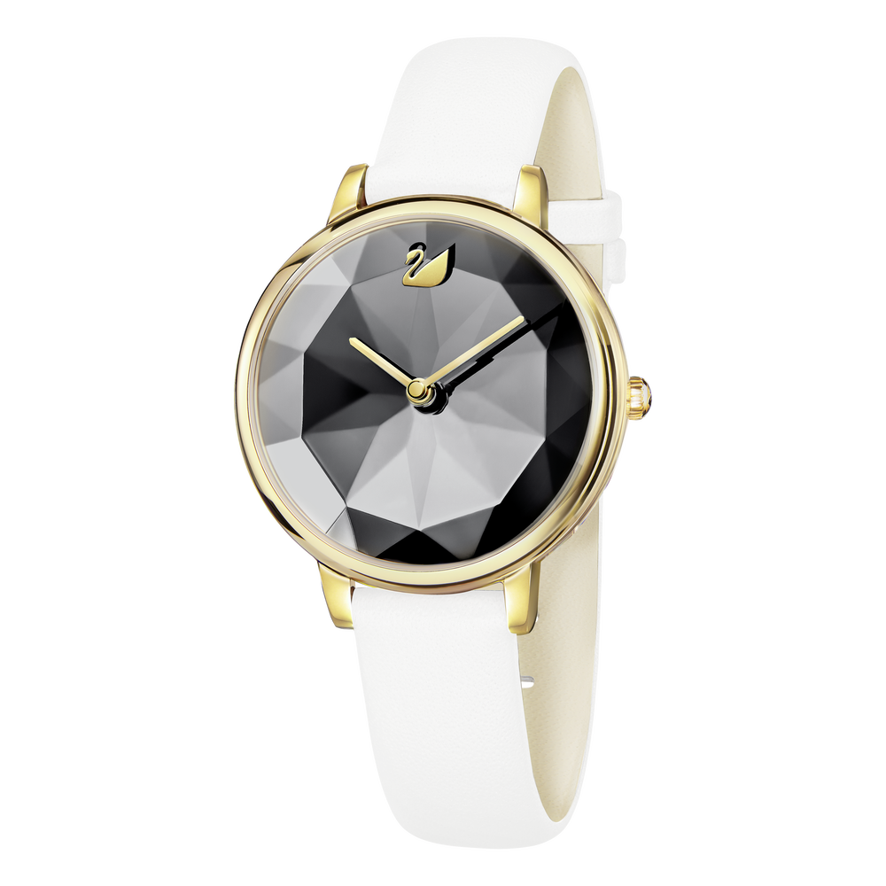 Crystal Lake Watch, Leather Strap, White, Gold Tone