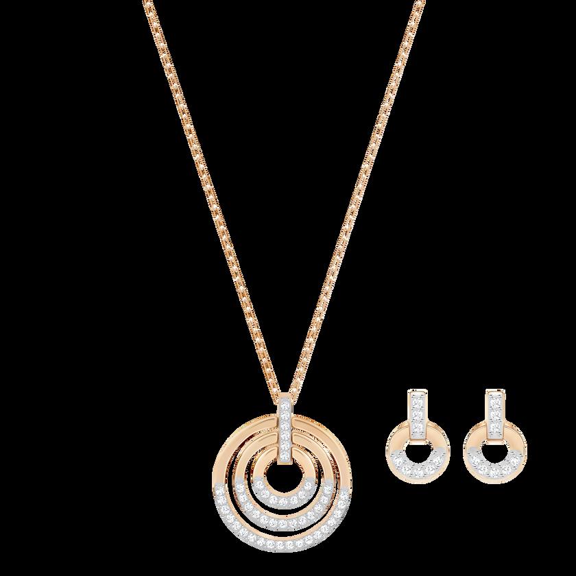 Circle Set, White, Rose-gold tone plated