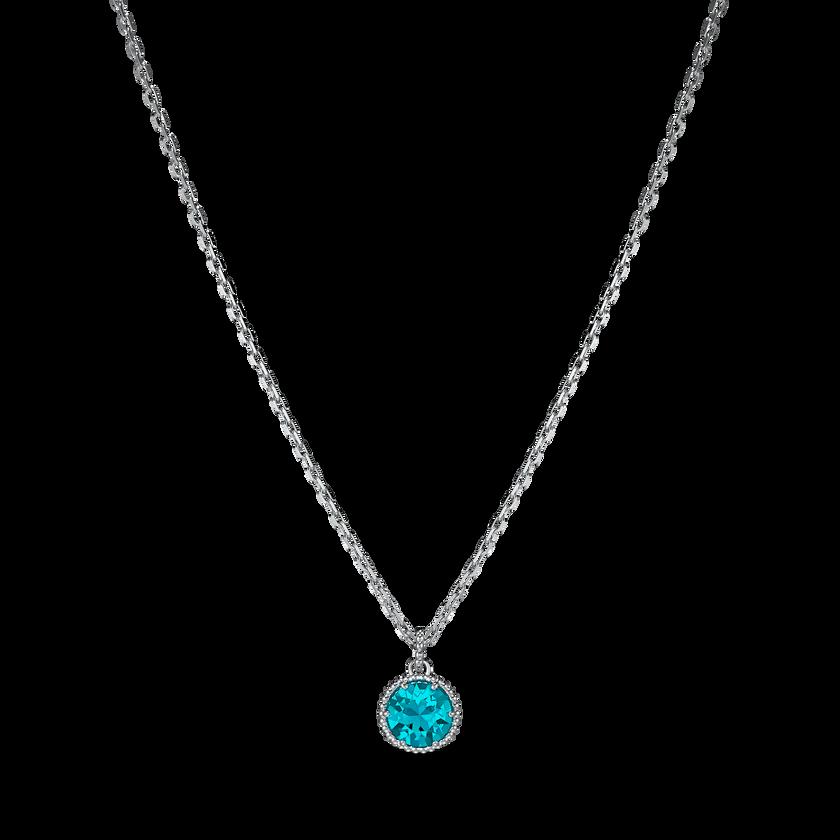 Birthstone Pendant, December, Blue, Rhodium plated
