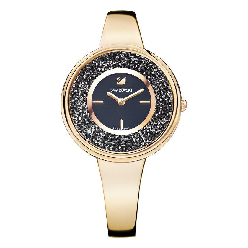 Crystalline Bracelet Watch, Black, Rose Gold Tone