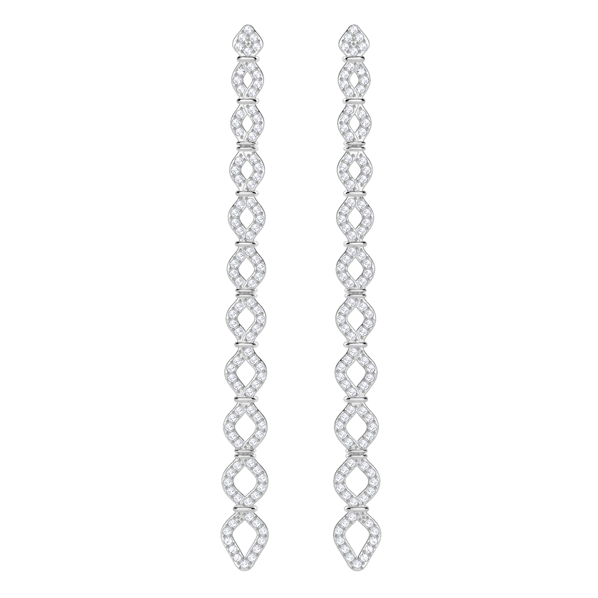 Lace Pierced Earrings, White, Rhodium Plating