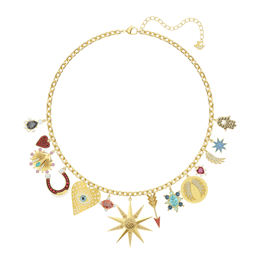 Lucky Goddess Charms Necklace, Multi-colored, Gold plating