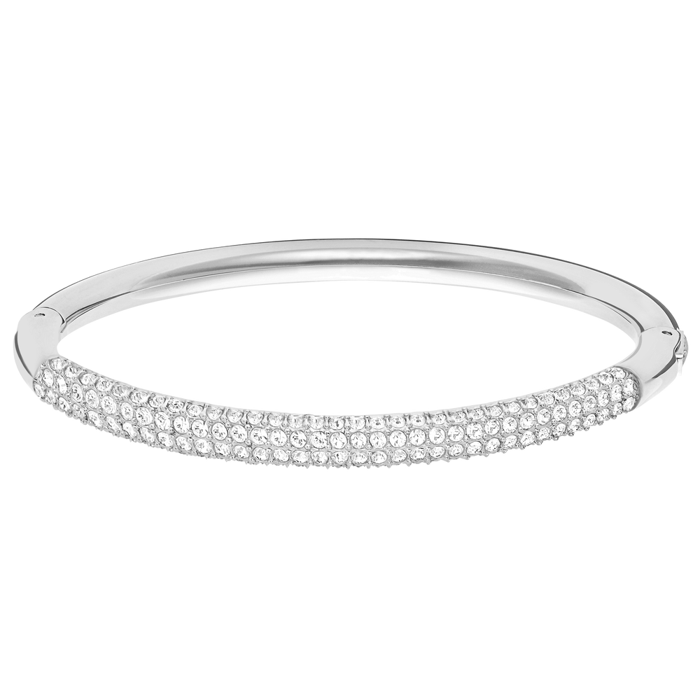 Stone Mini Bangle, White, Rhodium Plated
