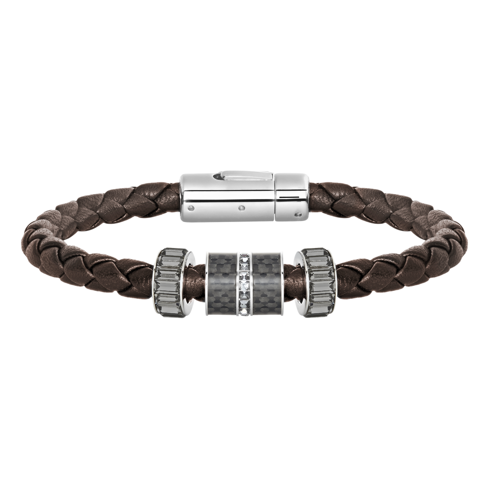 Diagonal Bracelet, Leather, Brown, Stainless steel
