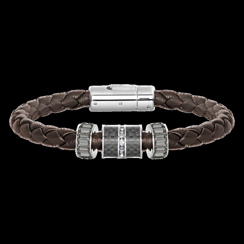 Diagonal Bracelet, Leather, Brown, Stainless steel