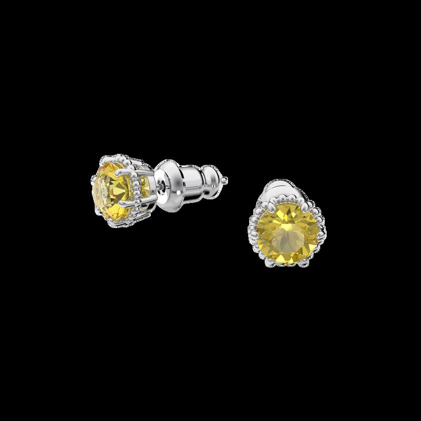 Birthstone earrings, November, Yellow, Rhodium plated