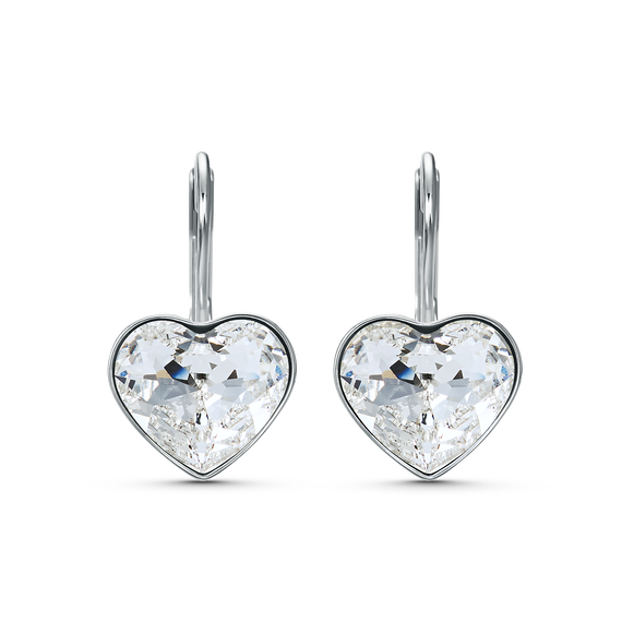 Bella Heart Pierced Earrings, White, Rhodium plated