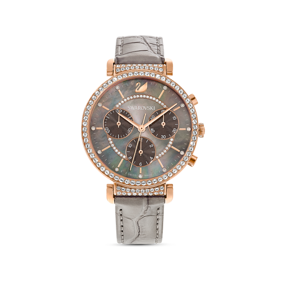 Passage Chrono Watch, Leather strap, Gray, Rose-gold tone PVD