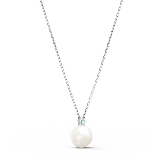 Treasure Pearl Necklace, White, Rhodium plated