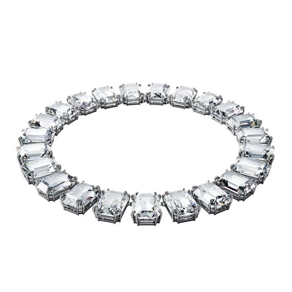 Millenia necklace, Octagon cut crystals, White, Rhodium plated