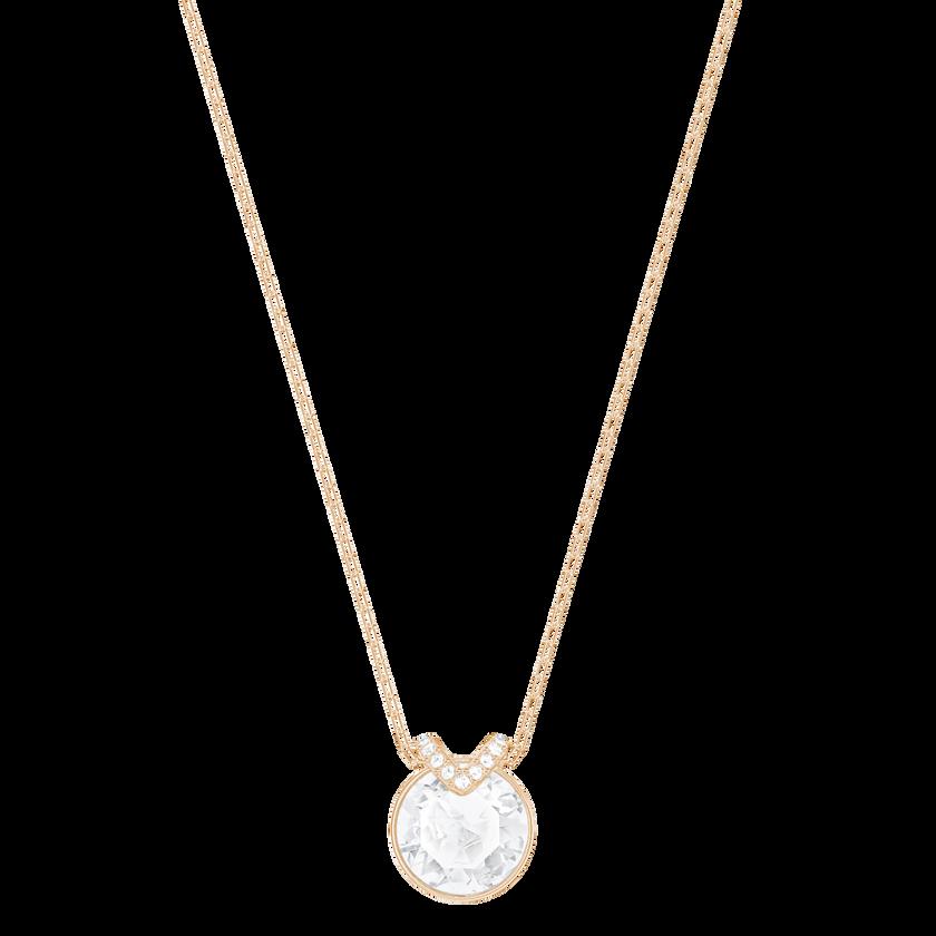 Bella V Pendant, White, Rose-gold tone plated