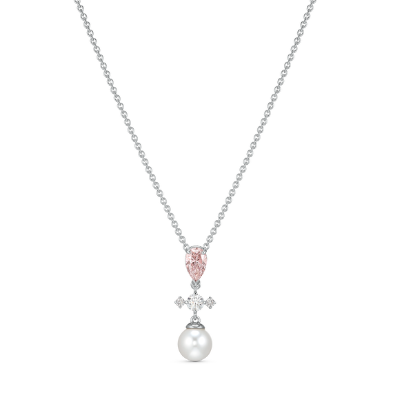 Perfection Necklace, Pink, Rhodium plated