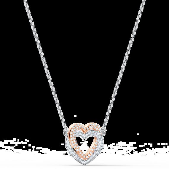 Swarovski Infinity Heart Necklace, White, Mixed metal finish