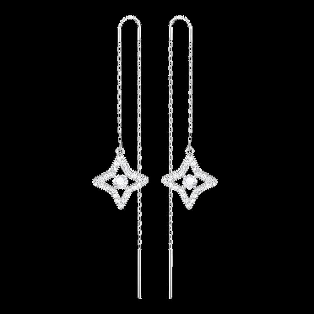 Sparkling Dance Star Pierced Earrings, White, Rhodium Plating