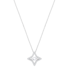 Sparkling Dance Star Pendant, Small, White, Rhodium Plating