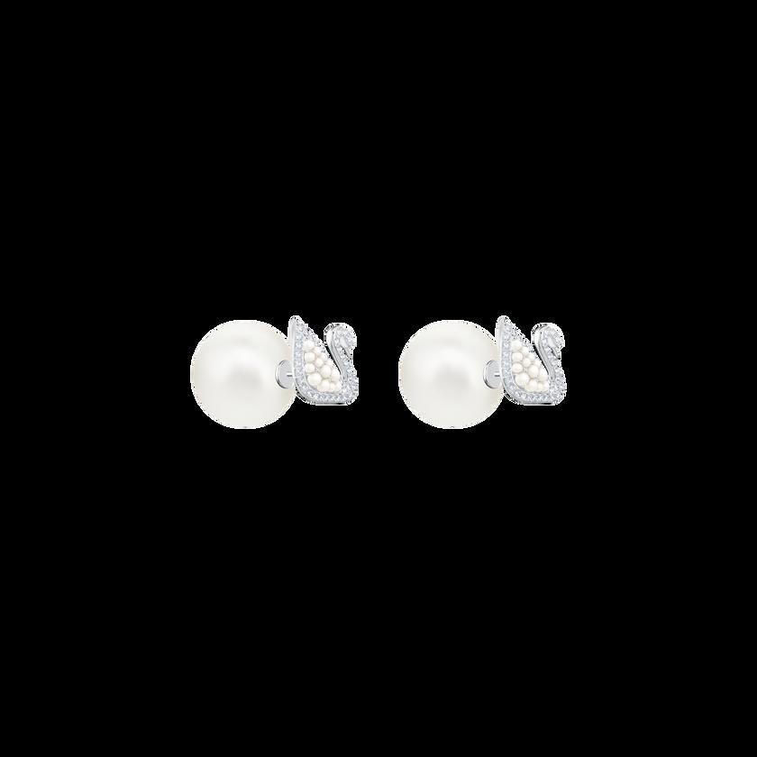 Iconic Swan Stud Pierced Earrings, White, Rhodium Plating