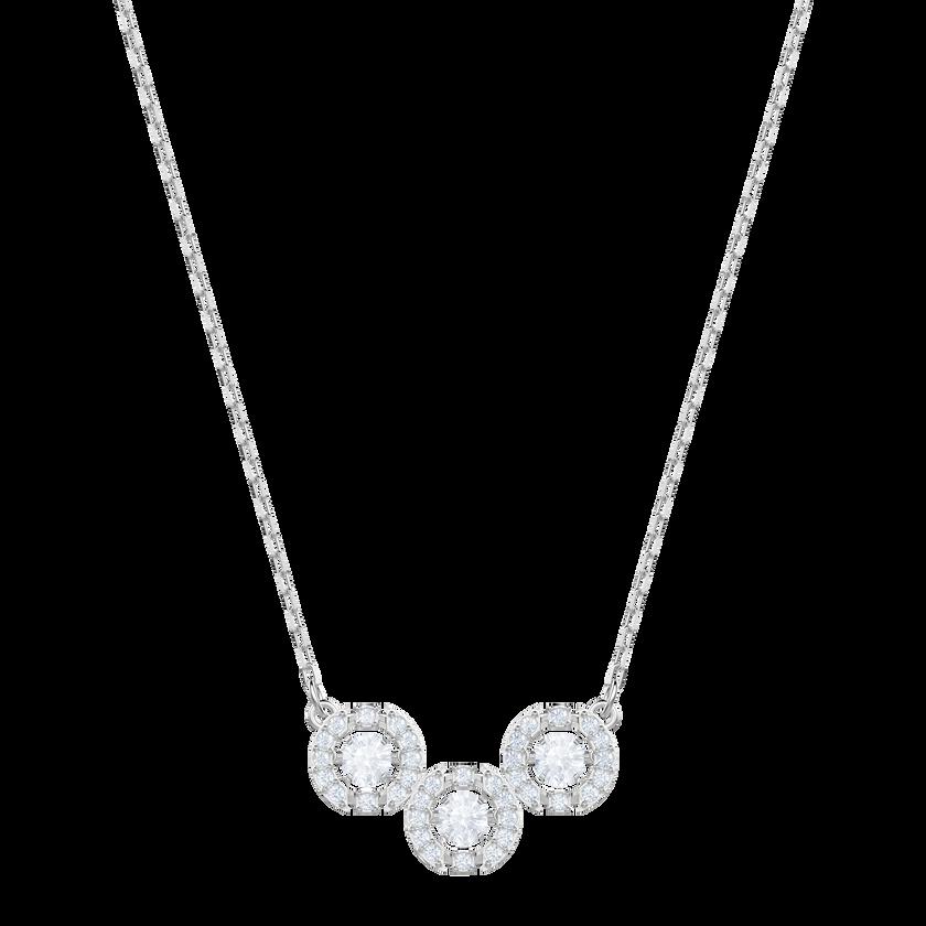 Sparkling Dance Trilogy Necklace, White, Rhodium plating