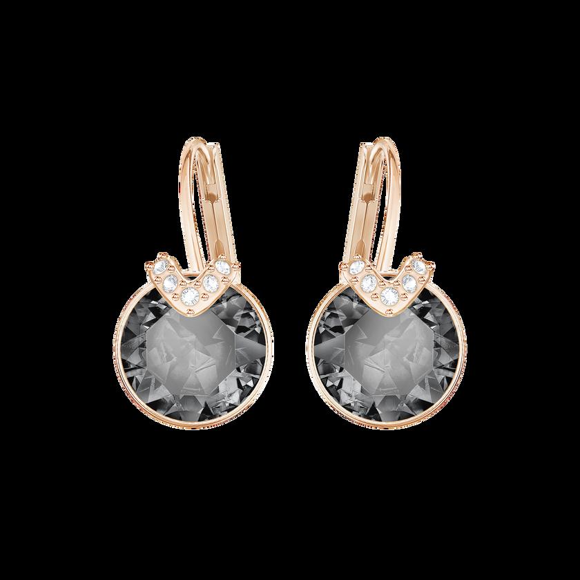 Bella V Pierced Earrings, Gray, Rose Gold Plated