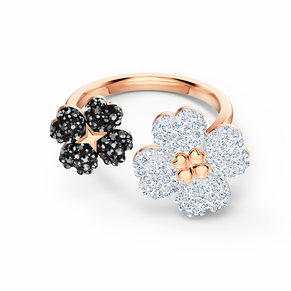 Latisha Ring, Black, Rose-gold tone plated