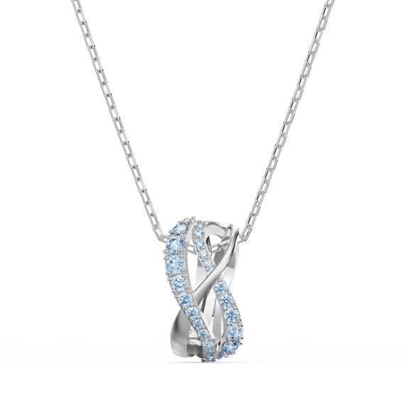 Twist Rows Pendant, Blue, Rhodium plated