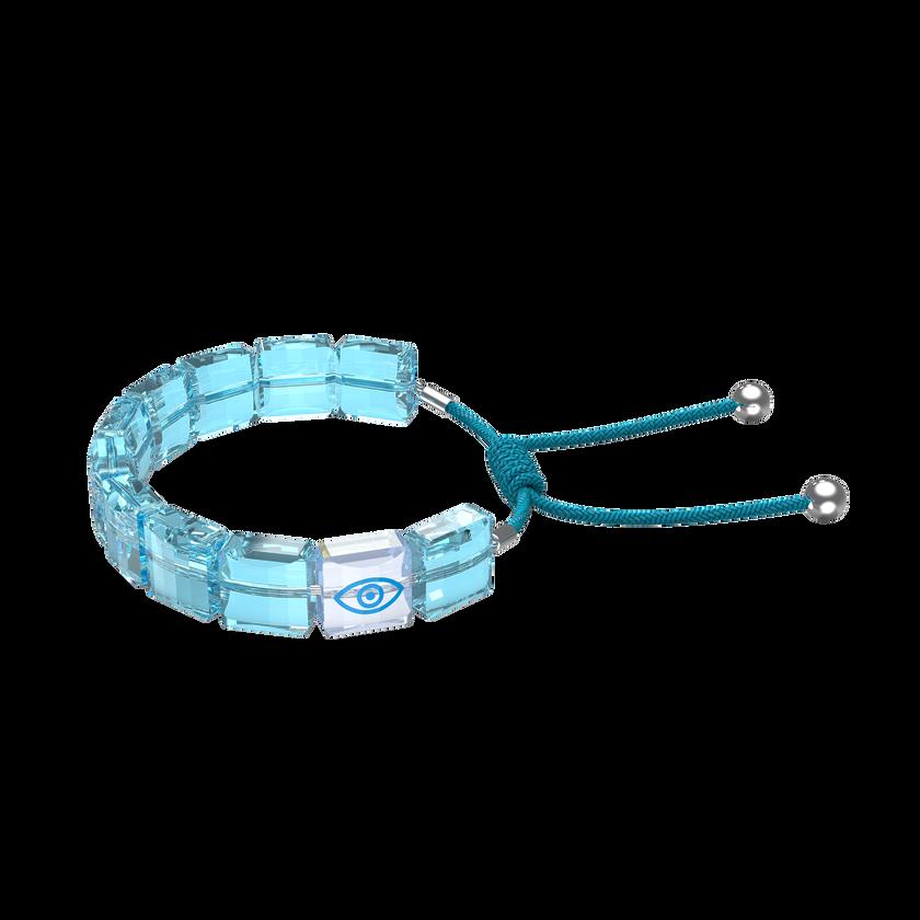 Letra bracelet, Evil eye, Blue, Rhodium plated