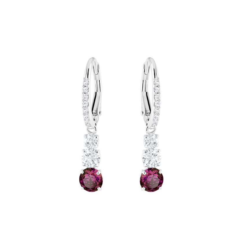 Attract Trilogy Round Pierced Earrings, Red, Rhodium Plating