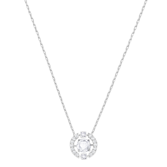 Sparkling Dance Round Necklace, White, Rhodium Plated