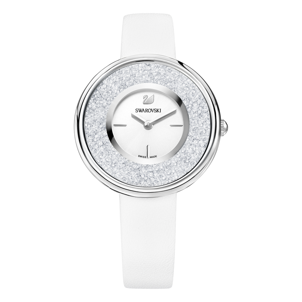 Crystalline Pure Watch, Leather strap, White, Stainless steel