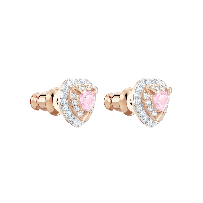 One Stud Pierced Earrings, Multi-colored, Rose gold plating