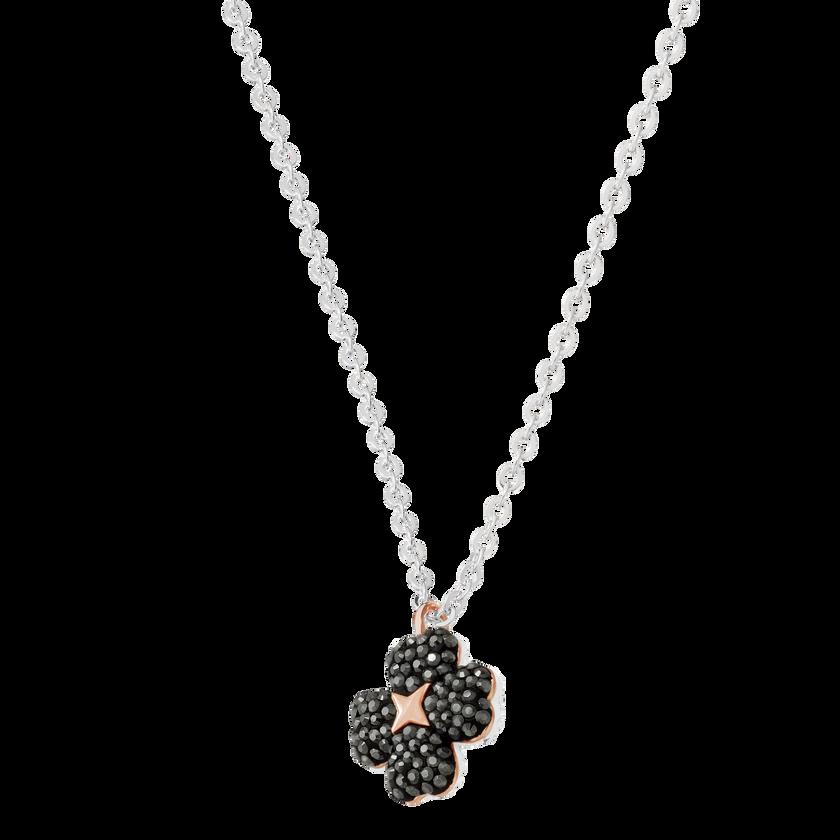 Latisha Flower Pendant, Black, Rhodium Plating
