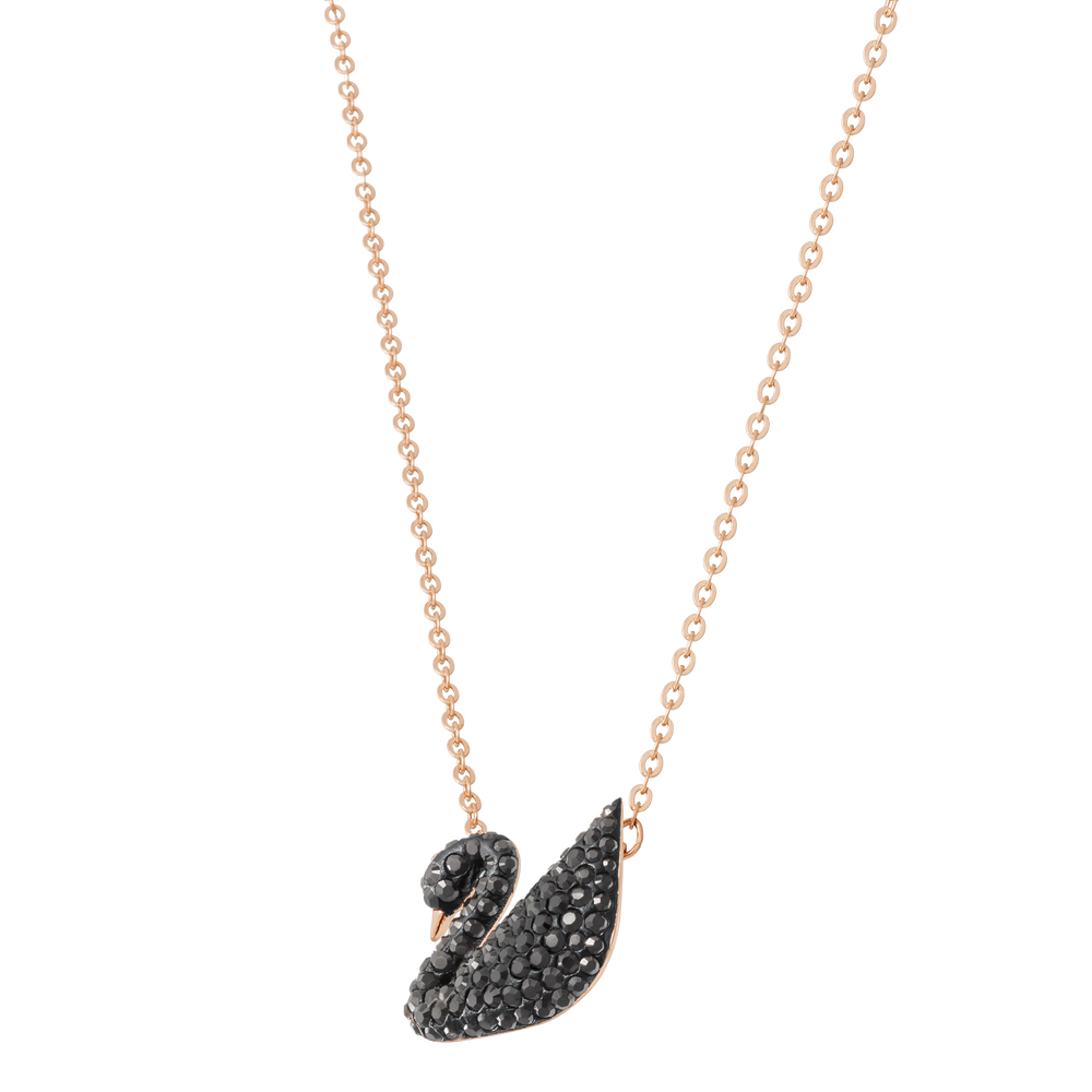 Iconic Swan Pendant, Black, Rose Gold Plated