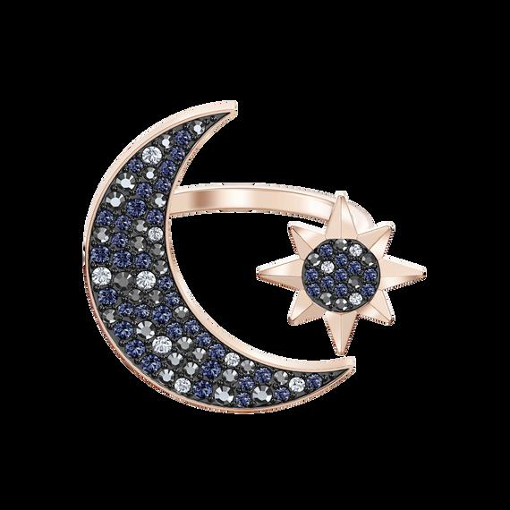 Swarovski Symbolic Moon Ring, Multi-colored, Rose-gold tone plated