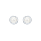 Originally Pierced Earrings Stud, White, Rhodium plating