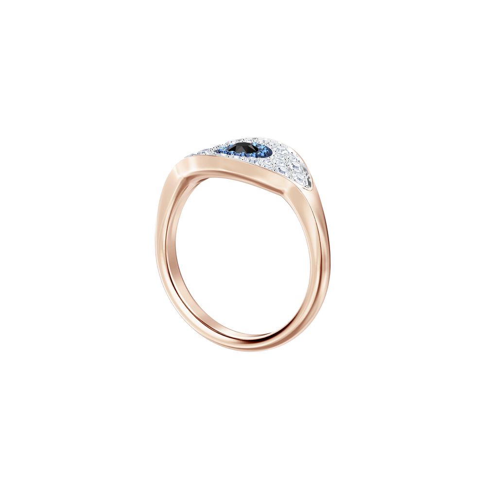 Duo Evil Eye Ring, Multi-Colored, Rose Gold Plating