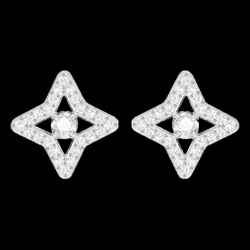 Sparkling Dance Star Stud Pierced Earrings, White, Rhodium plated