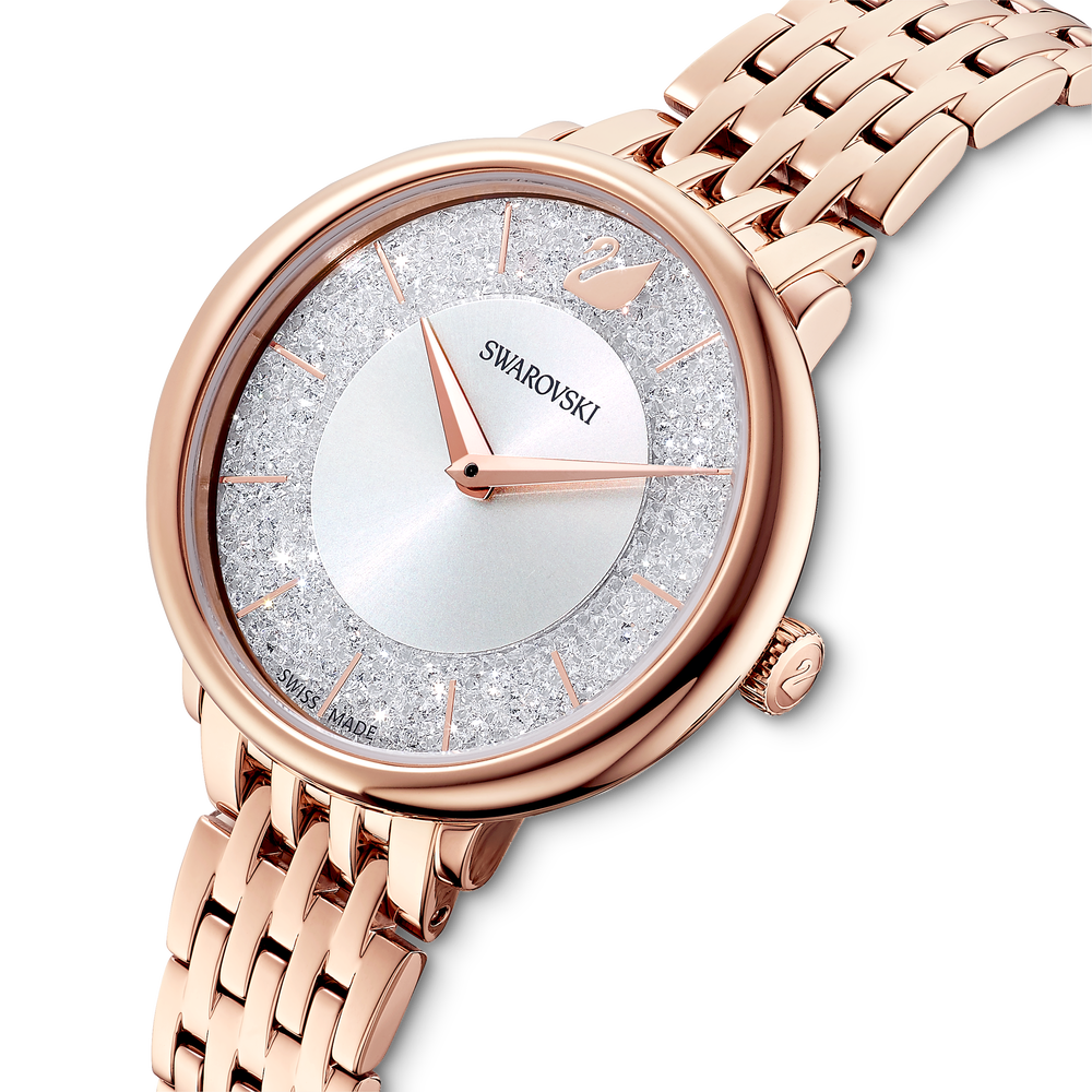 Cristalline Chic Watch, Metal bracelet, Rose gold tone, Rose-gold tone PVD
