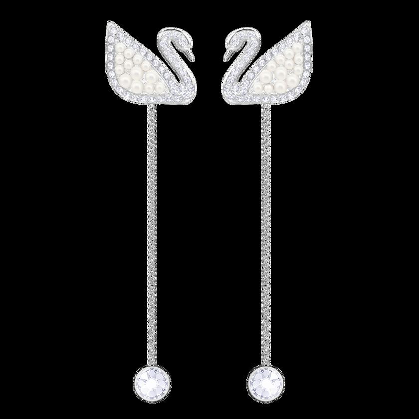 Iconic Swan Pierced Earrings, White, Rhodium Plating