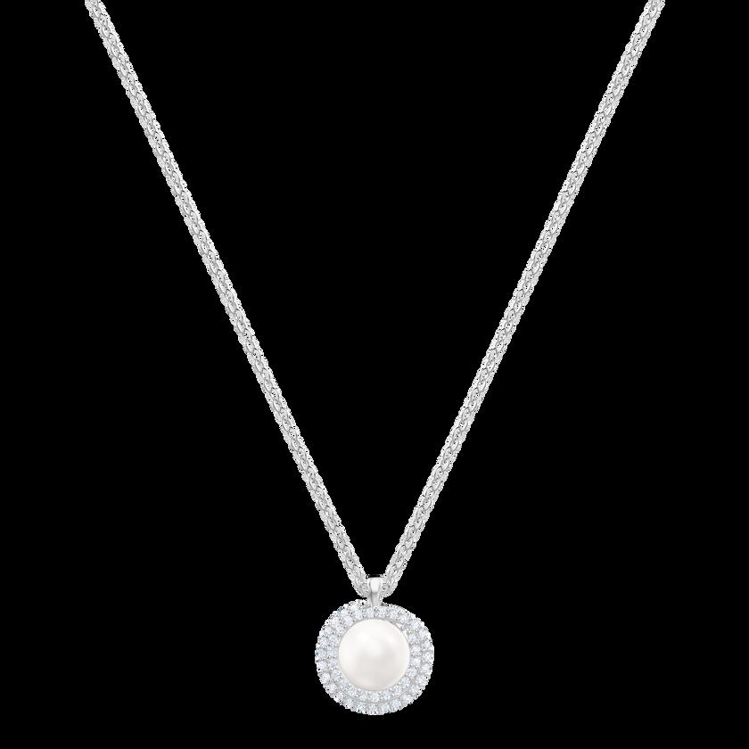 Originally Pendant Medium, White, Rhodium plating