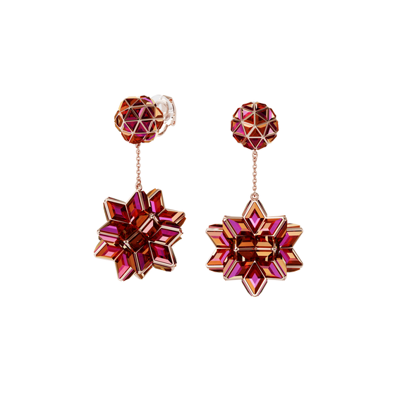 Curiosa clip earrings, Geometric crystals, Pink, Rose-gold tone plated