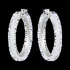 Stone Hoop Pierced Earrings, White, Rhodium Plating