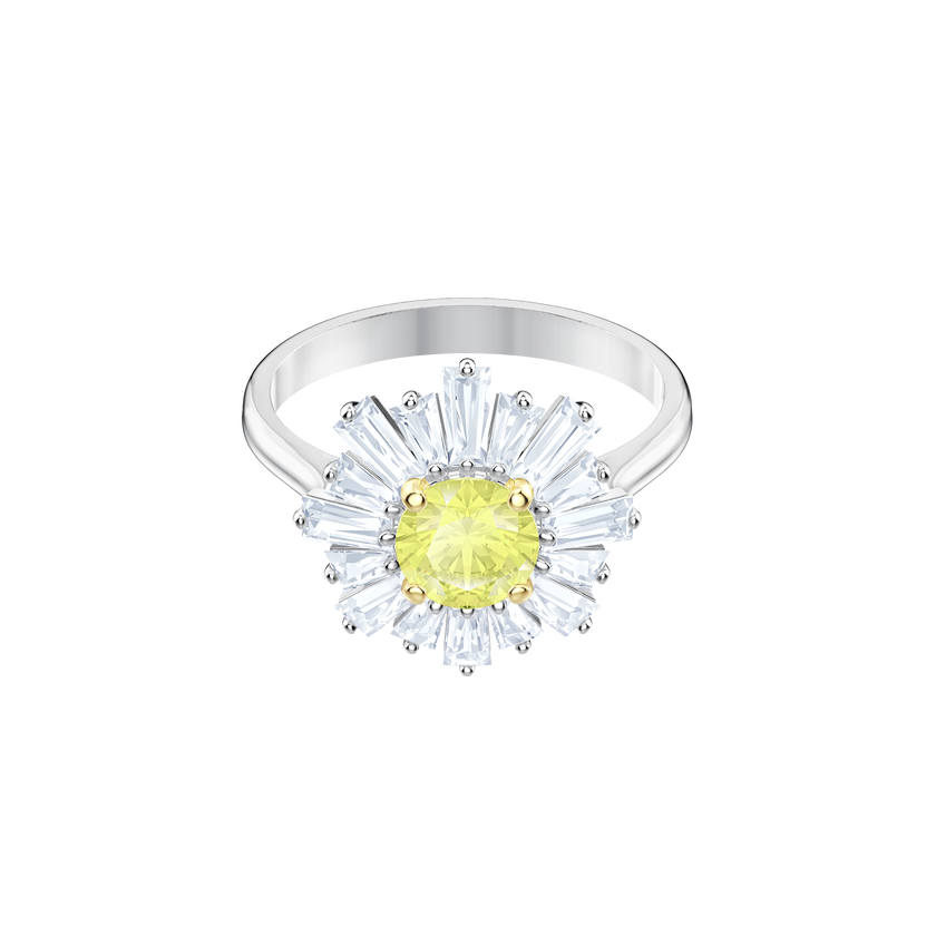 Sunshine Ring, Yellow, Rhodium plating
