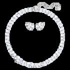Louison Set, Medium, White, Rhodium Plating