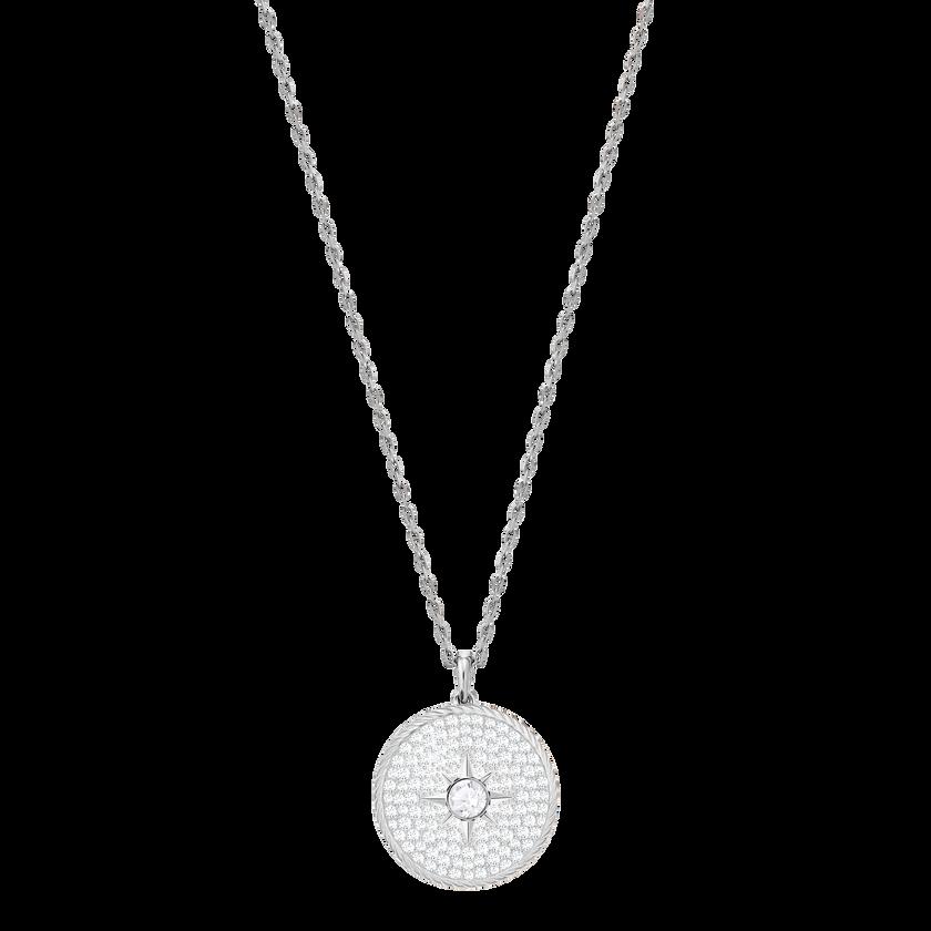 Locket Pendant, White, Rhodium plated